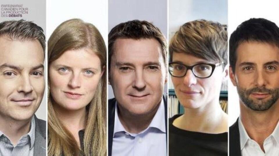 Photomontage d'Alec Castonguay, Patricia Cloutier, Patrice Roy, Hélène Buzzetti et de François Cardinal.