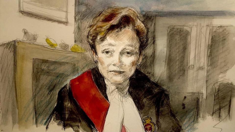 Dessin de cour de la juge en toge.