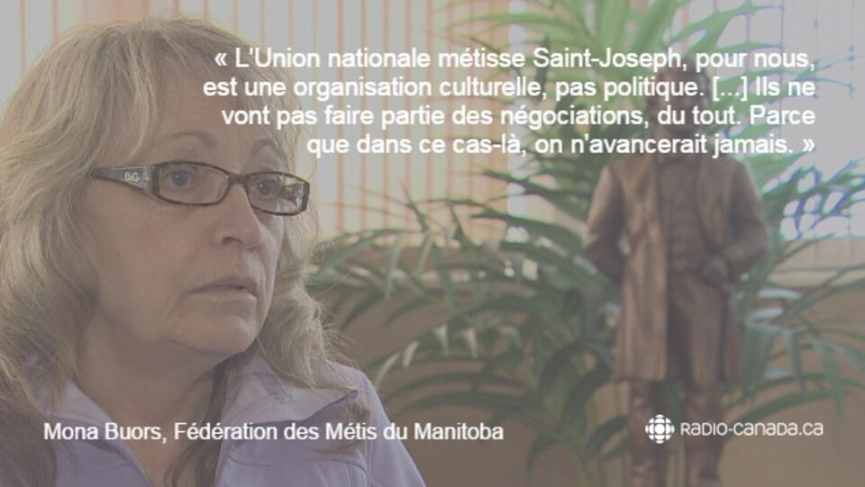Citation de Mona Buors : «L'Union nationale métisse Saint-Joseph, pour nous, est une organisation culturelle, pas politique. [...] Ils ne vont pas faire partie des négociations, du tout. Parce que dans ce cas-là, on n'avancerait jamais.»