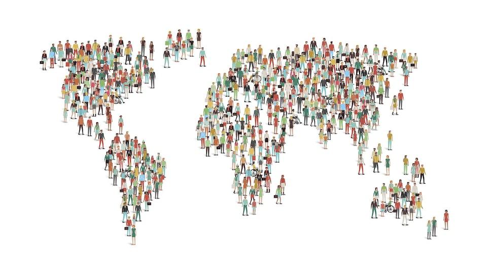 Représentation artistique de la population mondiale.