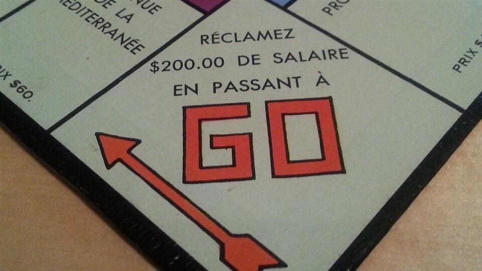 La case Go du jeu de Monopoly
