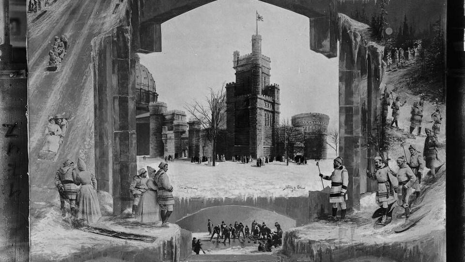 Un montage photographique fait la promotion de plusieurs activité du carnaval de 1887 et montre le palais de glace, un défilé et des raquetteurs qui font la fête