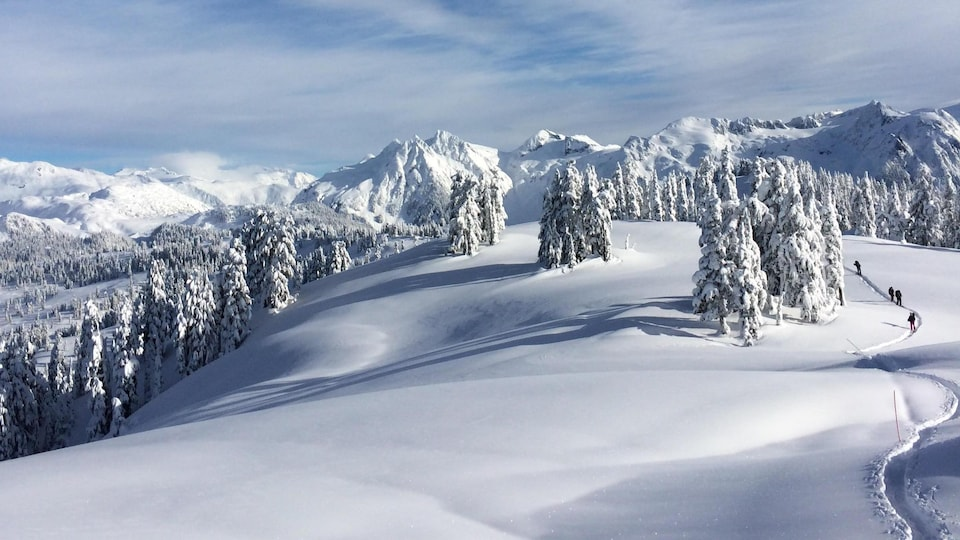 Des randonneurs entourés de neige et de montagnes à perte de vue empruntent le sentier Elfin Lakes du parc provincial Garibaldi, en Colombie-Britannique.
