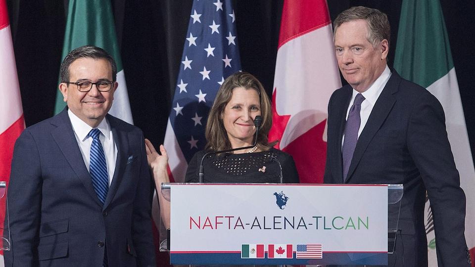 Les responsables de la renégociation de l'ALENA pour le Mexique, le Canada et les États-Unis : Ildefonso Guajardo, Chrystia Freeland et Robert Lighthizer
