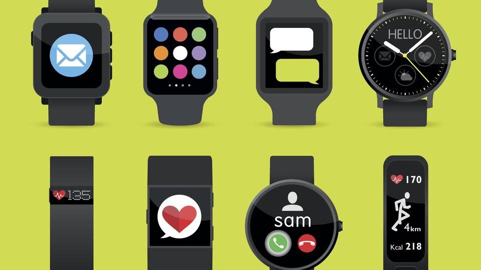 Montage de 8 modèles de montres.