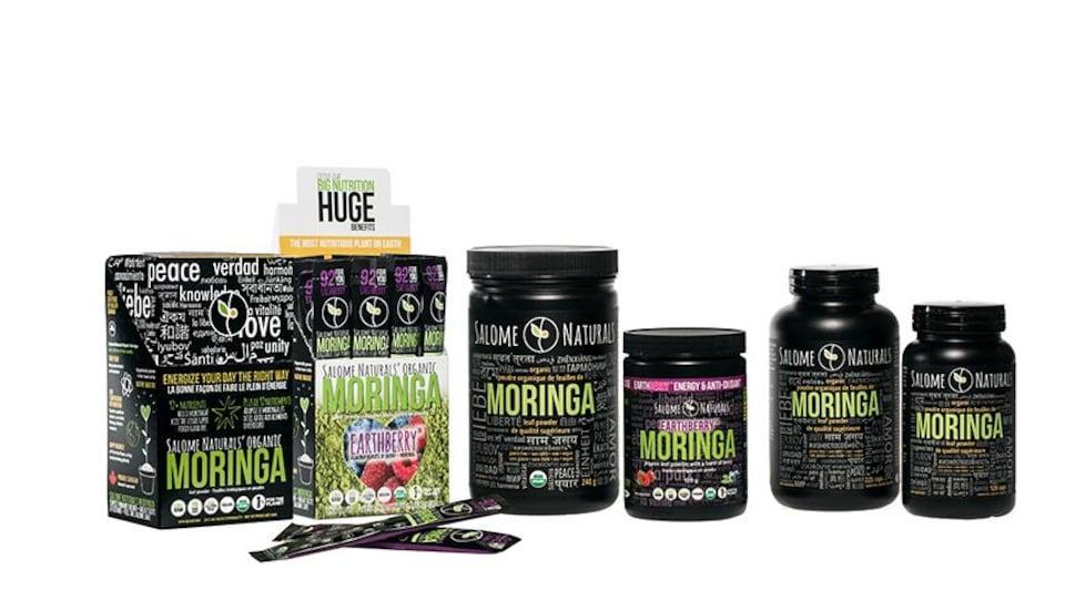 Une gamme de plusieurs produits avec de la poudre de moringa.