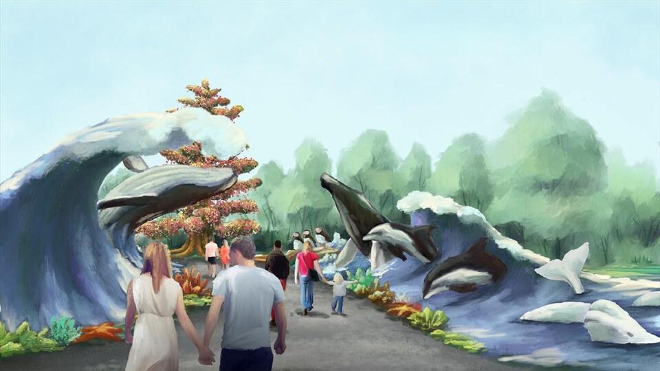 Maquette peinte de vagues et de baleines qui en sortent. Des marcheurs s'y promènent.