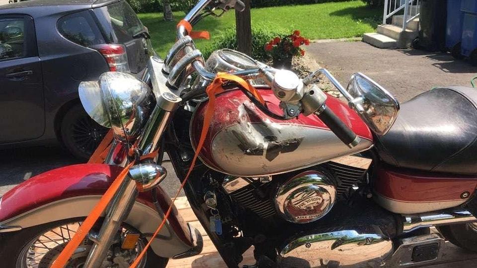 Motocyclette accidentée de David Archambault