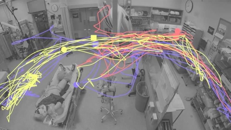 Une couleur différente a été utilisée pour reproduire les mouvements de chaque infirmière. Cela a ensuite permis de voir leurs mouvements dans la salle de traumatologie pour déterminer comment mieux disposer les équipements.