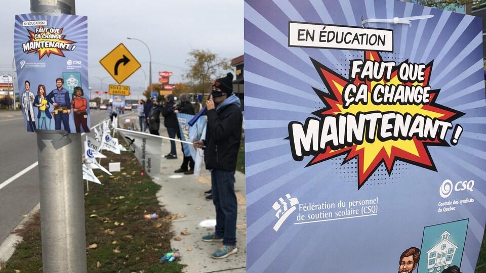 """Des manifestants et une affiche sur laquelle on peut lire """"faut que ça change maintenant""""."""