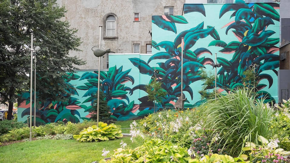 Des feuilles et de la verdure sur un mur.