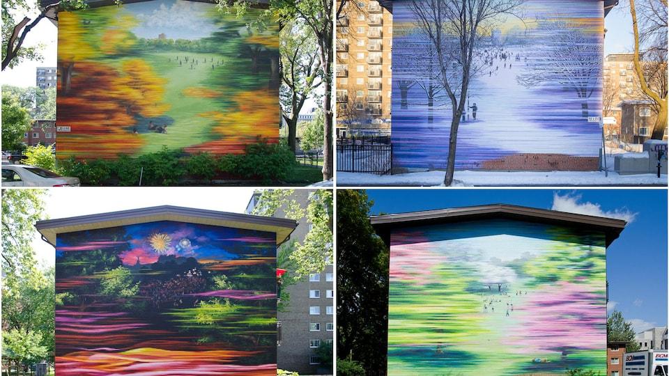 On voit quatre murs de quatre édifices avec des murales représentant quatre saisons.