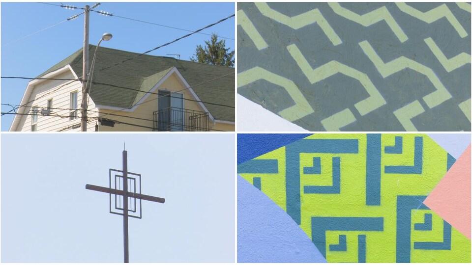 Un montage de quatres images. À droite, le toit d'une maison et une croix. À gauche, des portions de la murale qui rappellent ces éléments.