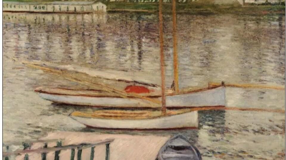 On voit l'image du tableau « Voiliers au mouillage sur la Seine à Argenteuil ».