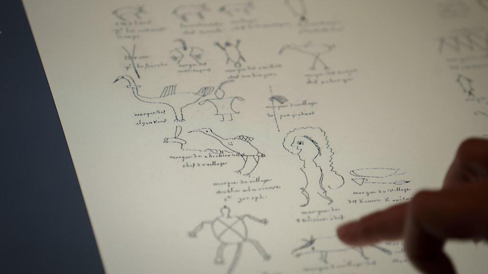 Document avec des dessins représentant des signatures.