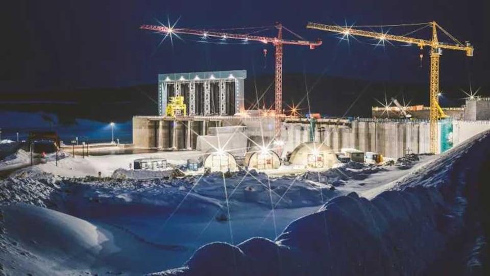 Le chantier Muskrat Falls en hiver.