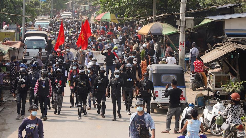 Manifestation à Mandalay au Myanmar.