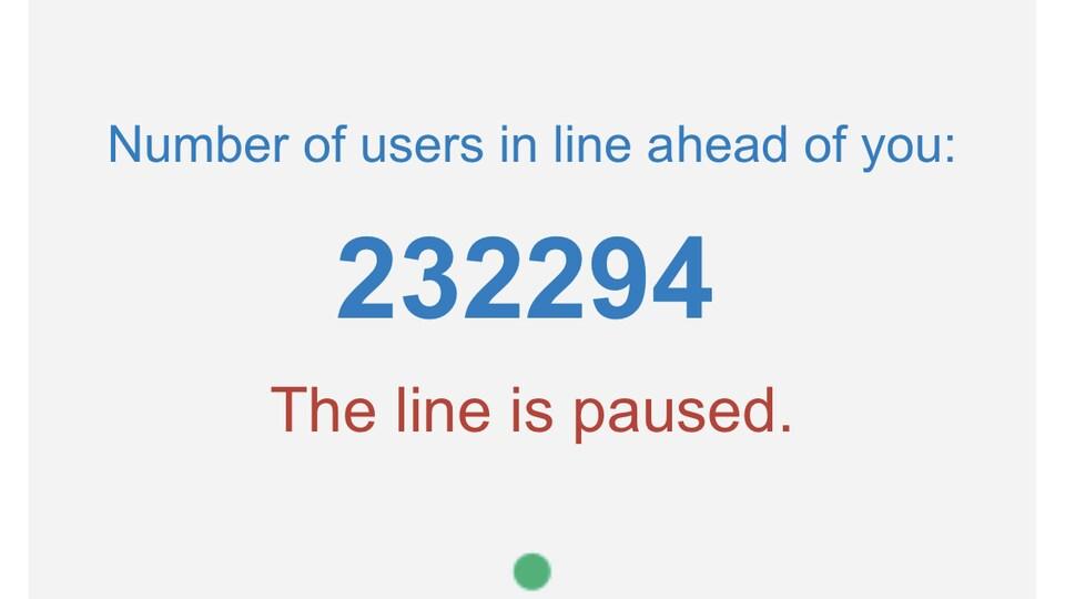 Capture d'écran de l'application My Health Records montrant que 232 394 personnes attendent leur tour en raison de difficultés techniques.