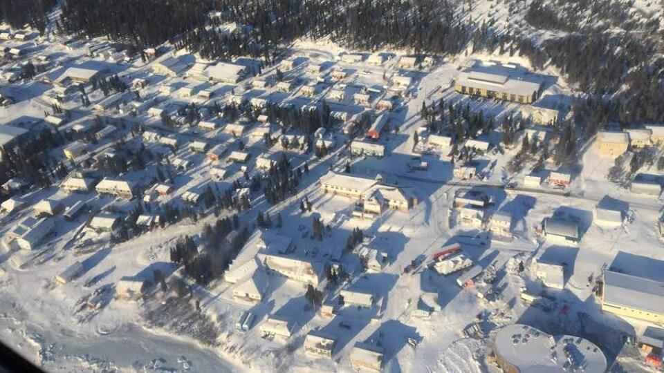 Vue aérienne de la ville de Nain au Labrador