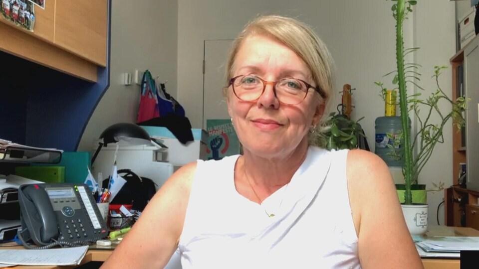 Nancy Hogan en entrevue FaceTime avec Radio-Canada.