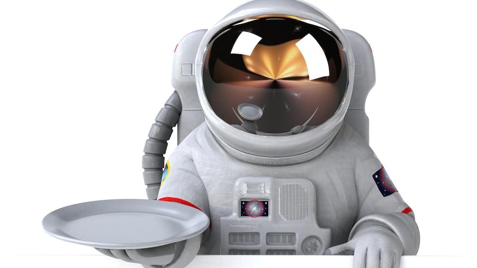 Illustration montrant un astronaute dans une combinaison qui tient une assiette dans ses mains.