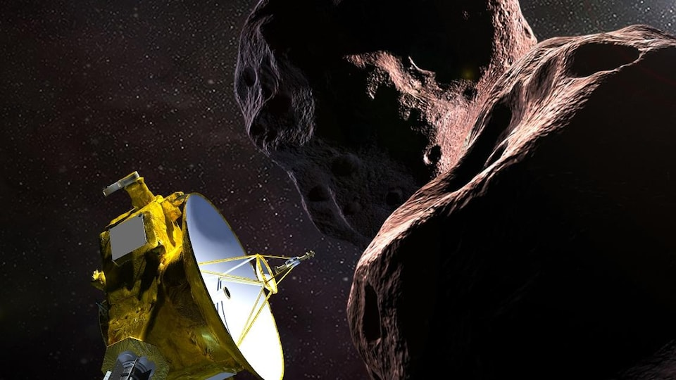 Représentation artistique de la sonde New Horizons dans le voisinage de l'astéroöde Ultima Thule.