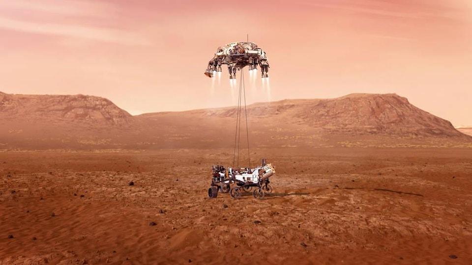 Illustration montrant le rover Perseverance de la NASA se posant sur Mars.