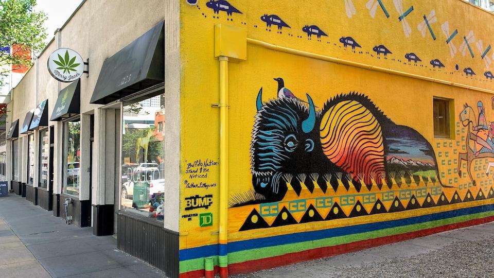 La première murale de Nathan Meguinis dans une ruelle du quartier Betline.