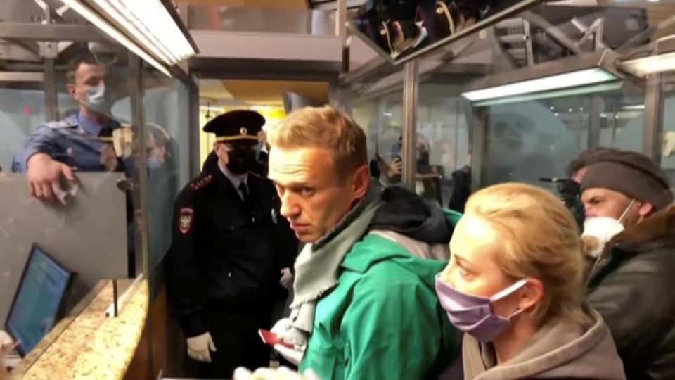Capture d'écran d'Alexeï Navalny avant son arrestation à l'aéroport Sheremetyevo de Moscou.