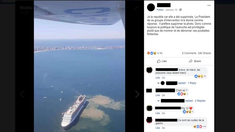 La personne accuse les navires de croisière d'être des «poubelles flottantes».