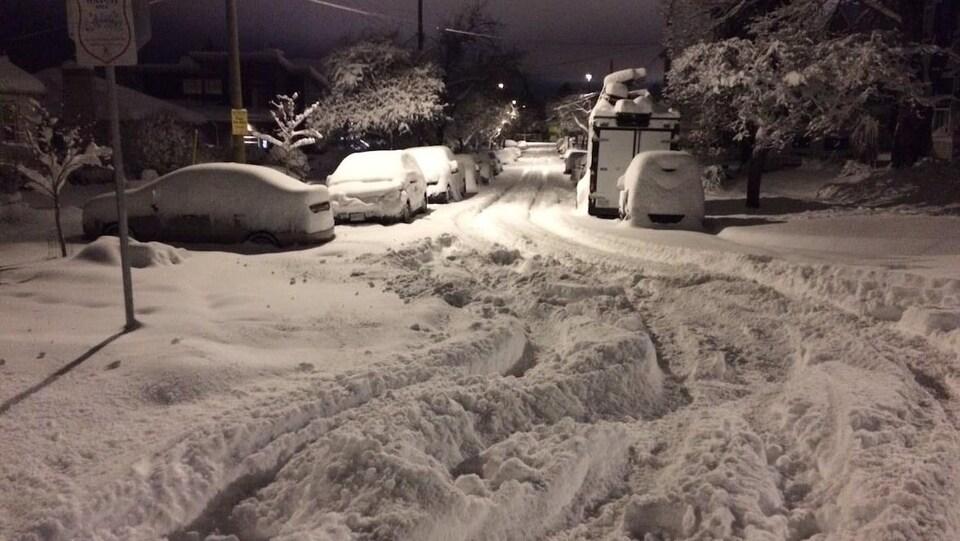 Un tapis de neige recouvre le sol à Victoria, en Colombie-Britannique.
