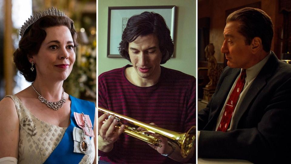 Dans l'ordre, des images de la série The Crown et des films Marriage Story et The Irishman.