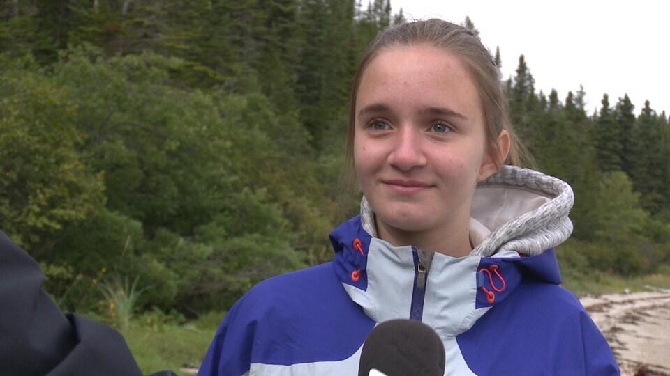 Frédérique Jomphe accorde une entrevue à Radio-Canada.