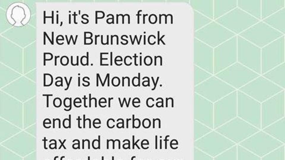 Un exemple de texto envoyé par le groupe New Brunswick Proud.