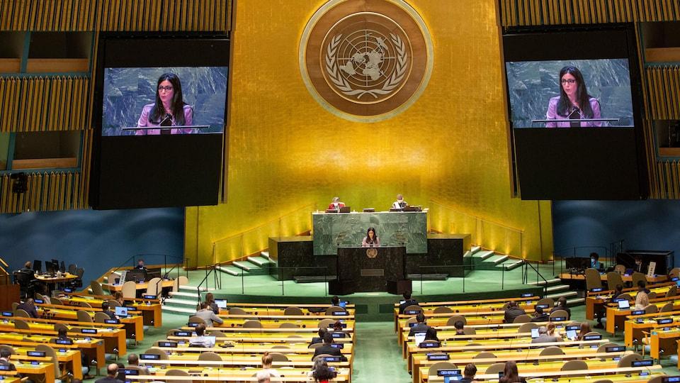 La ministre des Affaires étrangères du Liechtenstein, Dominique Hasler, s'adresse à la 76e session de l'Assemblée générale des Nations unies au siège de l'ONU, le 25 septembre 2021 à New York.