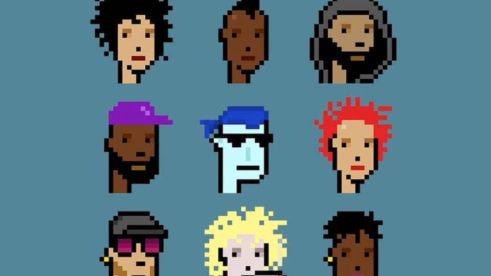 Neuf personnages pixélisés sur un fond bleu.