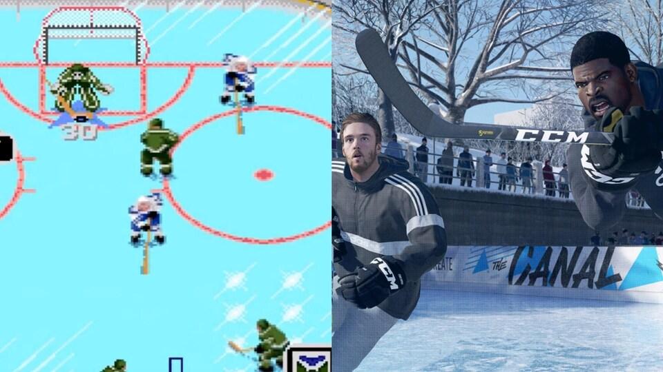 Images de la première et de la dernière versions du jeu vidéo NHL Hockey.