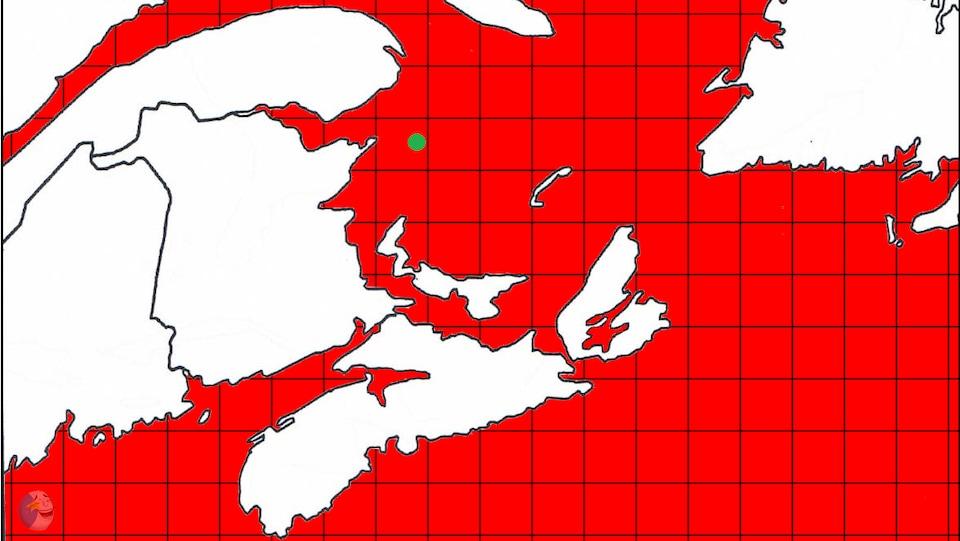 Une carte de la région des Maritimes indique que toutes les zones de pêche sont fermées, à l'exception d'un petit point en vert. Il est indiqué : «Si la tendance se maintient... Zone ouverte à la pêche au crabe».