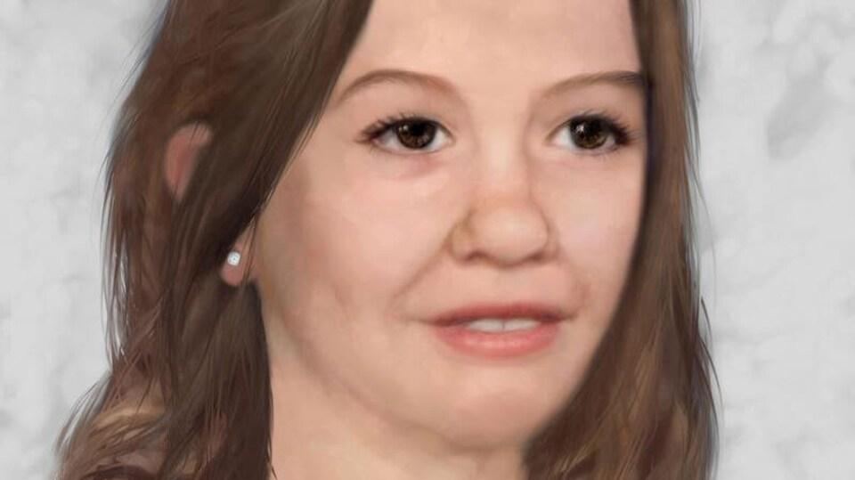 Dessin du visage d'une femme aux cheveux longs