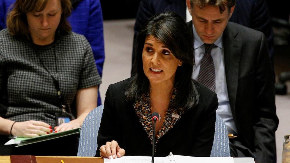 L'ambassadrice des États-Unis à l'ONU, Nikki Haley.