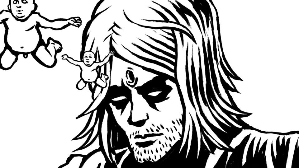 Dessin en noir et blanc de Kurt Cobain. Deux bébés semblent émerger d'un trou au milieu du front du chanteur.