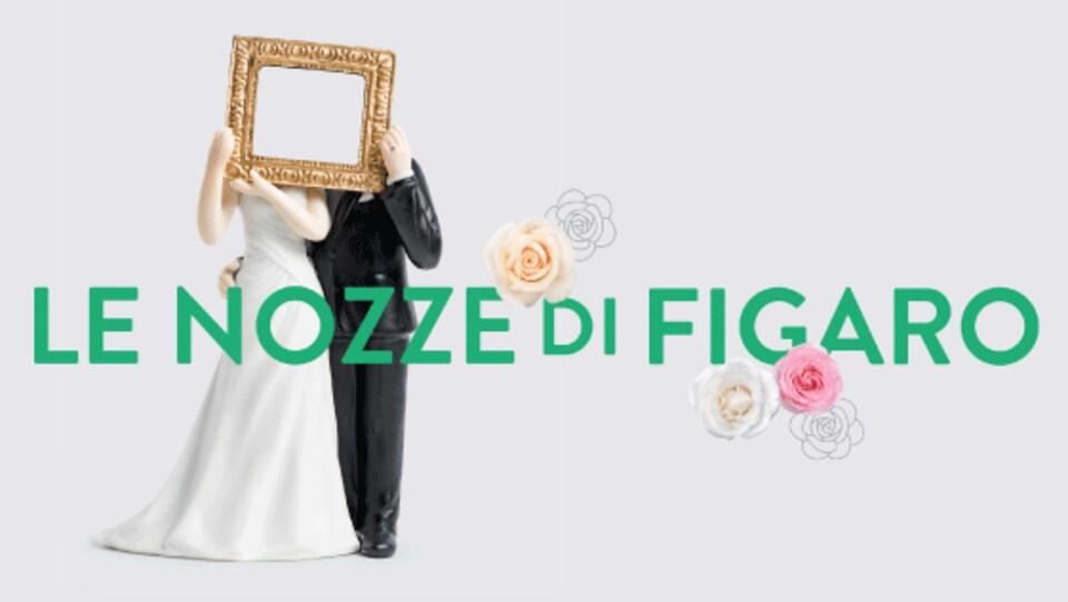 affiche du spectacle, deux mariée tenant un cadre devant leur visage.