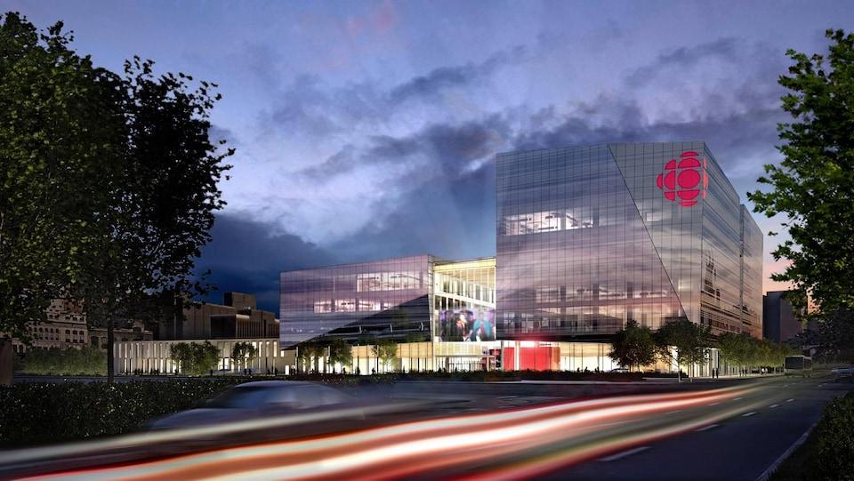 La nouvelle Maison de Radio-Canada se situe à l'angle du boulevard René-Lévesque et de la rue Papineau.
