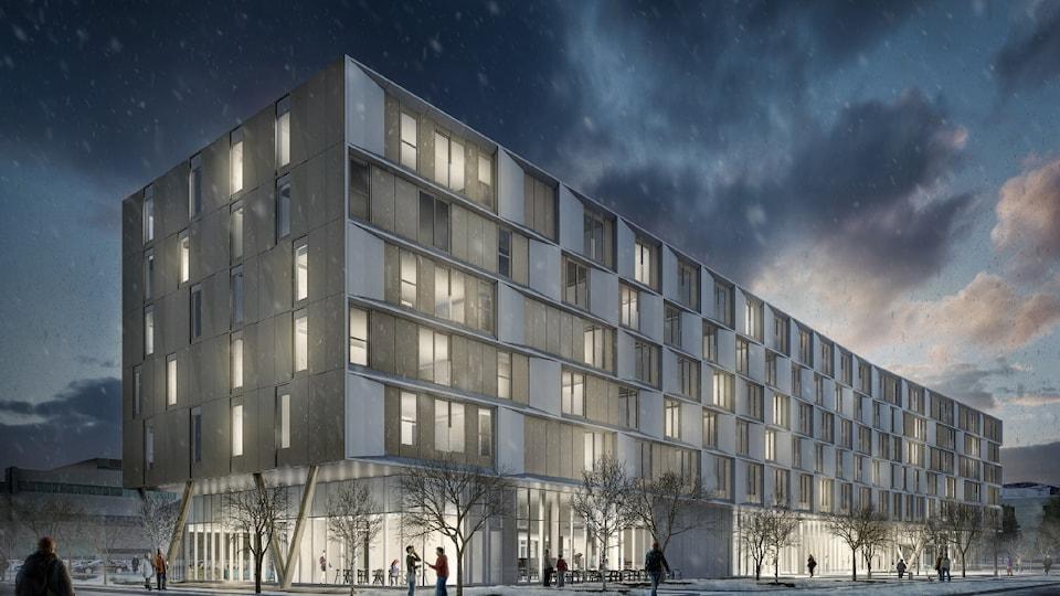 Maquette du futur pavillon de résidences à l'Université Laval