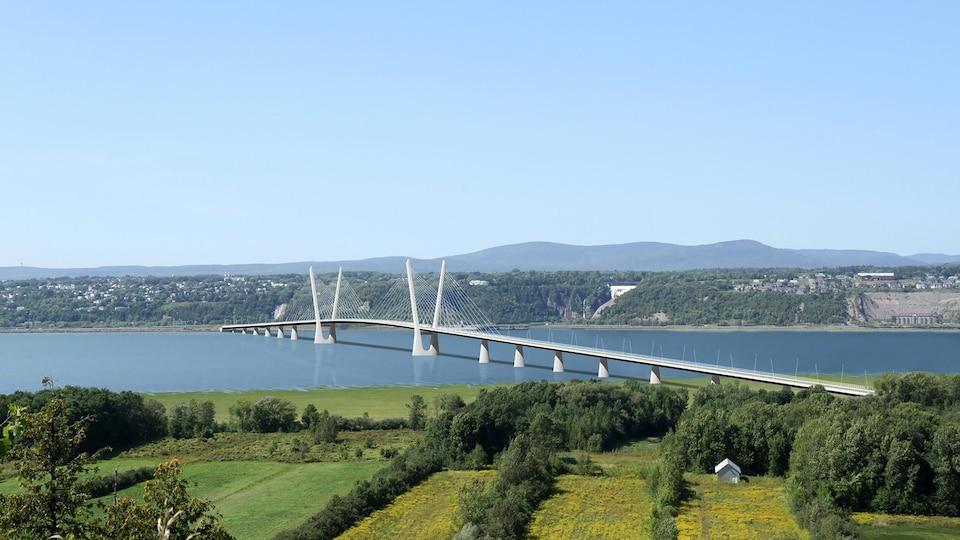 Un croquis du nouveau pont de l'île d'Orléans, à Québec, surplombe le Saint-Laurent.