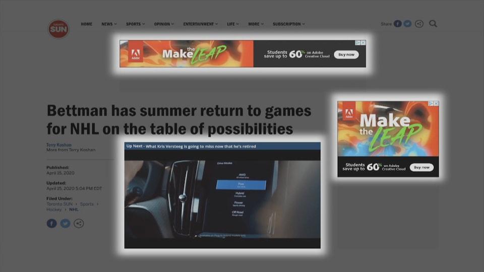 Capture d'écran d'un site de nouvelles qui met en valeur les publicités qui y sont placées.