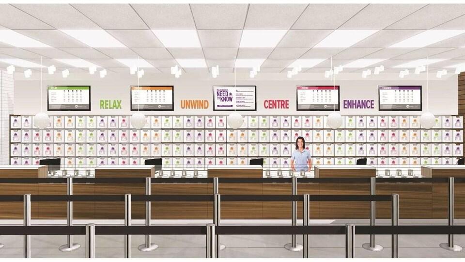 Une illustration de l'aménagement prévu des points de vente de cannabis de la Régie des alcools de la Nouvelle-Écosse.