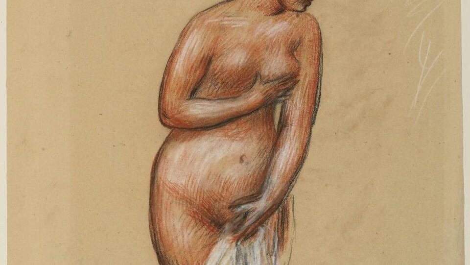 Une femme au visage de profil tient son sein gauche de sa main droite, et un bout de tissu blanc de la main gauche, pour cacher son sexe.