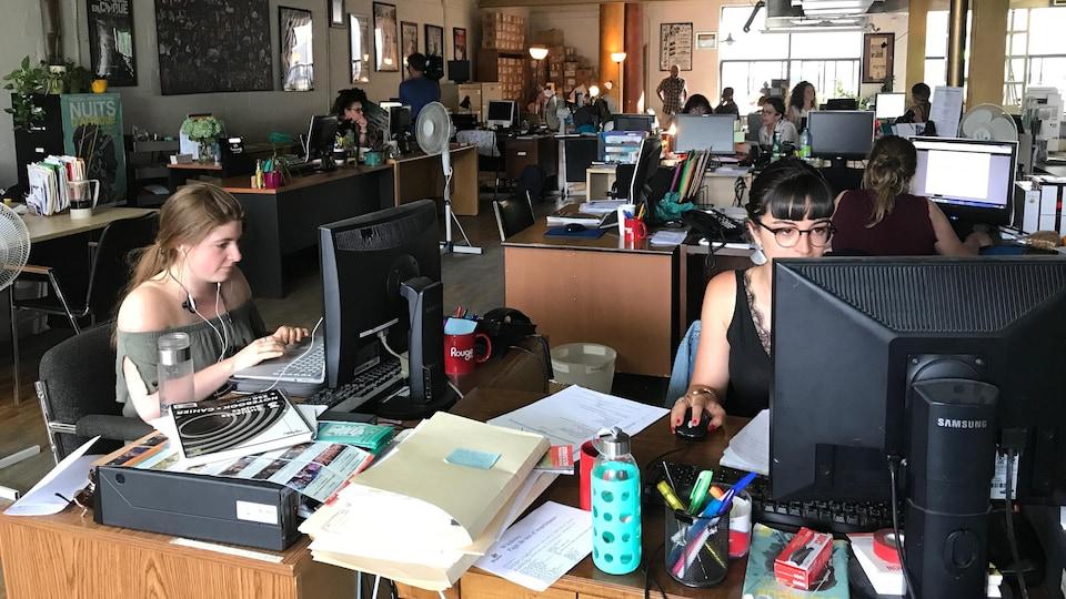 Des personnes travaillent avec des ordinateurs dans un espace ouvert où des bureaux sont réunis en îlots.