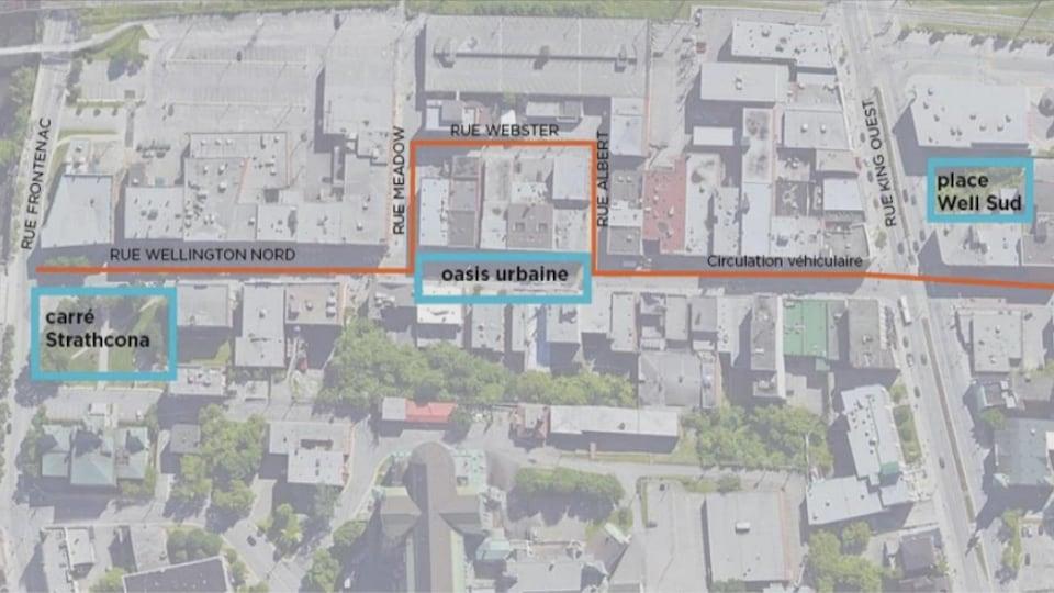 Le plan d'aménagement et la circulation automobile au centre-ville de Sherbrooke pour l'été 2020.